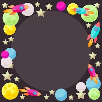 Felgekleurde vectorruimteachtergrond met kleurrijke heldere planeten en ruimteschepen