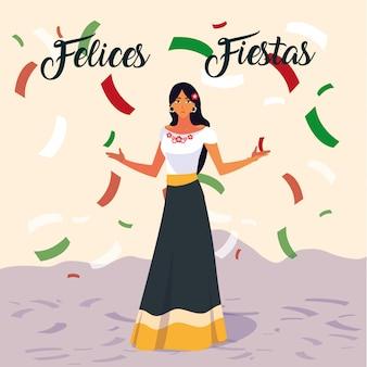 Felices-feestenetiket met vrouw met mexicaans typisch kostuum