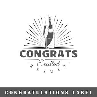 Felicitatie label geïsoleerd op een witte achtergrond. ontwerpelement. sjabloon voor logo, bewegwijzering, huisstijlontwerp.