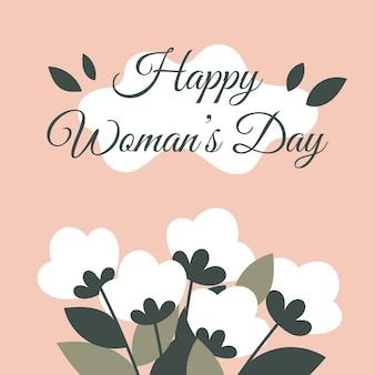 Felicitatie lentekaart voor vrouwendag, 8 maart met bloemen. roze vierkante kaart met een inscriptie.