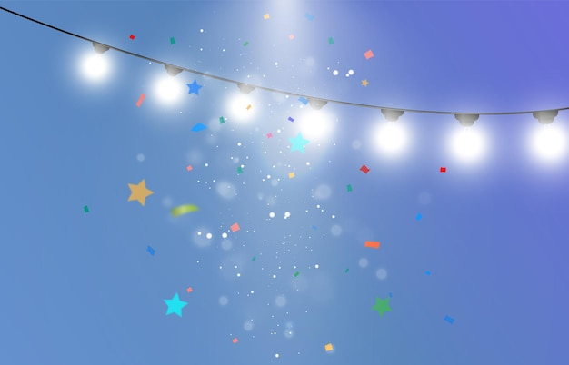 Felicitatieillustratie met veel vallende deeltjes en slingers