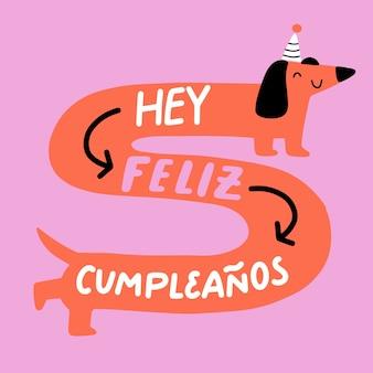 Feliz cumpleaños belettering hond illustratie