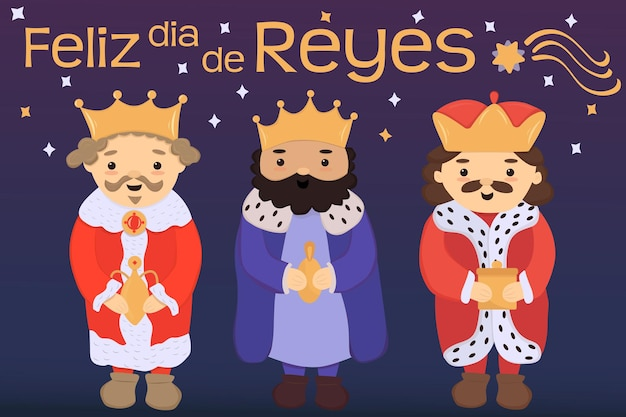 Feliz dia de reyes spaanse vertaling gelukkige koningen dag drie koningen of wijze mannen met geschenken
