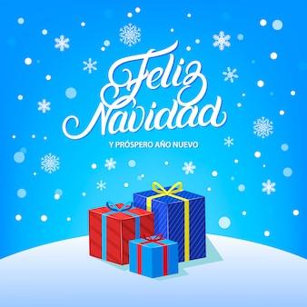 Feliz navidad handgeschreven belettering ontwerp met vallende sneeuw, sneeuwvlokken en geschenken.