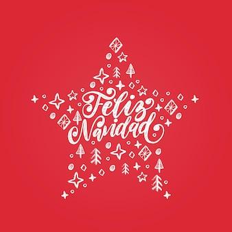 Feliz navidad, handgeschreven zin, vertaald uit het spaans merry christmas. vector decoratieve sterillustratie op rode achtergrond.
