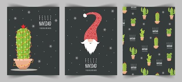 Feliz navidad-kaarten met schattige kerstelf en cactussen. fijne feestdagen.