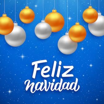 Feliz navidad seizoenengroeten op het spaans Premium Vector