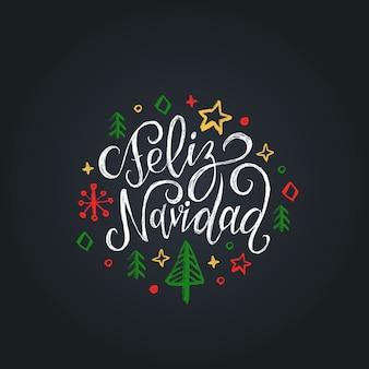 Feliz navidad vertaald uit het spaans merry christmas-letters op zwarte achtergrond.