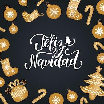 Feliz navidad vertaalde merry christmas-letters met feestelijke nieuwjaarselementen.
