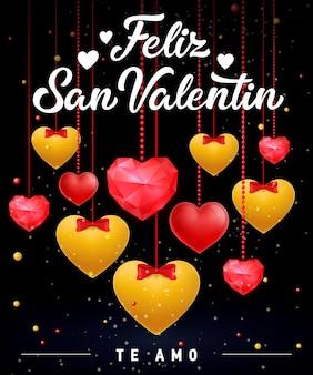 Feliz san valentin belettering met harten