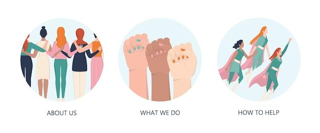 Femenisme concept. vrouwen ondersteunen organisatie website gekleurde pictogrammen. idee van gendergelijkheid en vrouwenbeweging. girl power beweging. sociale dienst web pictogrammen.