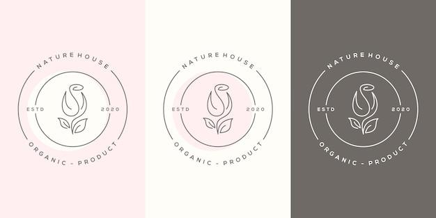 Feminime schoonheid roos logo ontwerpsjabloon