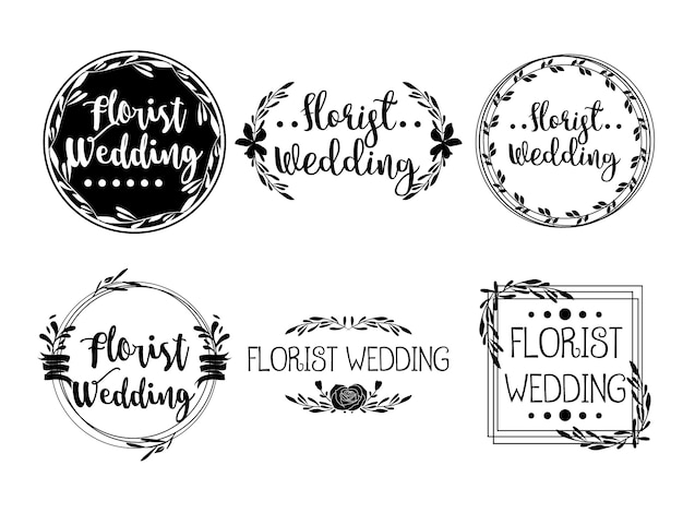 Feminine flower logo templates bloemist wedding planner
