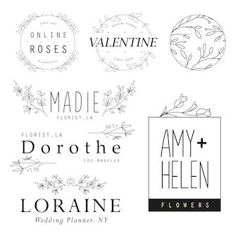 Feminine flower logo templates bloemist wedding planner