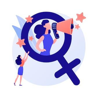 Feminisme. bescherming van vrouwenrechten. sociale en politieke beweging. ideologie, patriarchaat, discriminatie op grond van geslacht. geslachtsgelijkheid. vrouwelijke activisten. vector geïsoleerde concept metafoor illustratie.