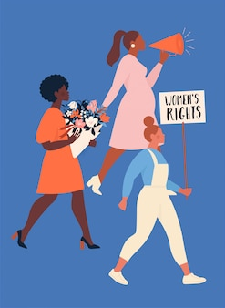 Feminisme concept. een groep vrouwen van verschillende nationaliteiten die protesteren en hun rechten opeisen. empowerment van vrouwen.