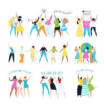 Feminisme en feministische karakters illustratie set, empowerment van de vrouw, zusterschap, vrouwelijke ideeën