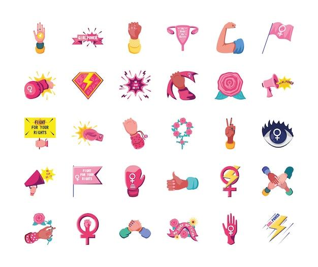 Feminisme gedetailleerde stijl 30 icon set ontwerp internationale beweging