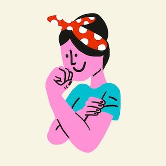 Feministische bewegingssticker, sterk gemachtigde vrouw illustratie vector