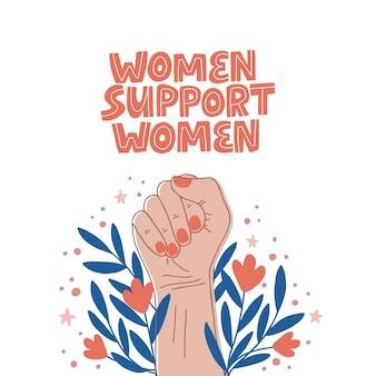 Feministische slogan vrouwen steunen vrouwen. girl power.