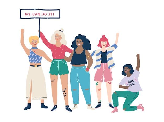 Feministische vrouw, machtsuitdrukking van het meisje op het overhemd