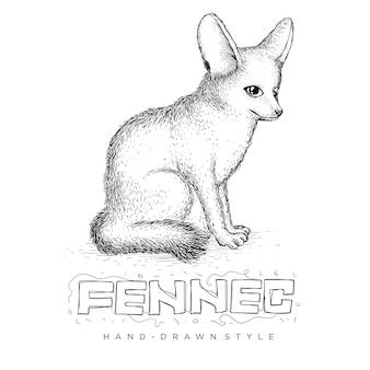 Fennec zittend, met de hand getekende dierlijke illustratie