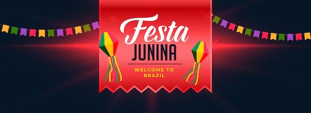 Festa hunina viering donkere banner