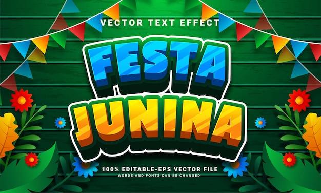 Festa junina 3d bewerkbaar teksteffect geschikt voor festa junina-festivals