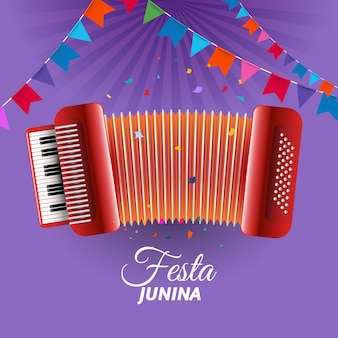 Festa junina-accordeon versierd met wimpels