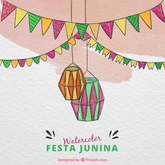 Festa junina achtergrond met aquarel elementen