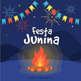 Festa junina achtergrond met bonfire