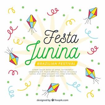 Festa junina achtergrond met confetti