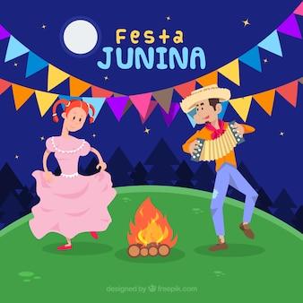 Festa junina-achtergrond met en mensen die dansen spelen