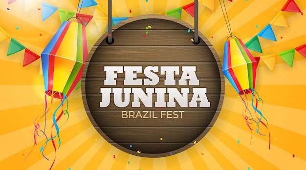 Festa junina-achtergrond met feestvlaggen