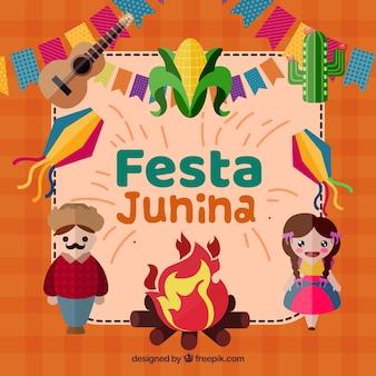 Festa junina achtergrond met gelukkige mensen