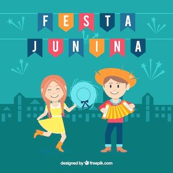 Festa junina achtergrond met gelukkige paar