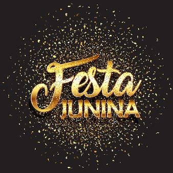 Festa junina-achtergrond met goud schittert confettien