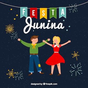 Festa junina-achtergrond met het gelukkige mensen vieren
