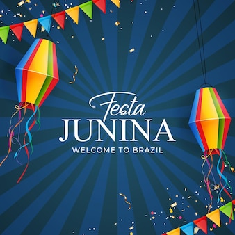 Festa junina-achtergrond met lantaarn van partijvlaggen