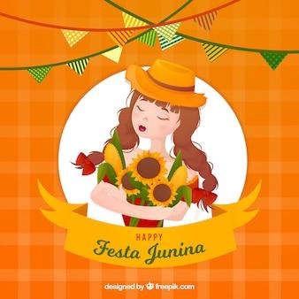 Festa junina-achtergrond met meisje en zonnebloemen