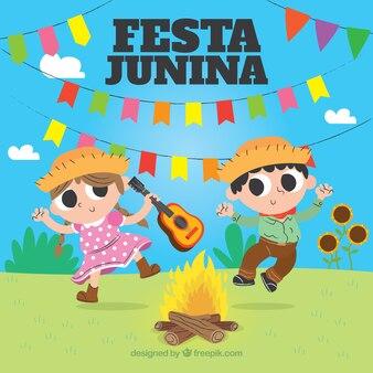 Festa junina-achtergrond met mensen het dansen