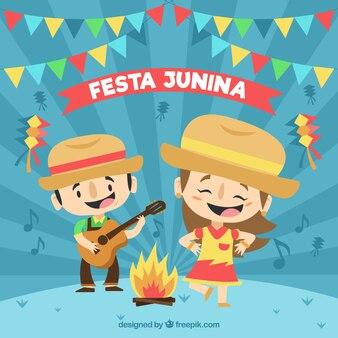Festa junina-achtergrond met mensen het vieren