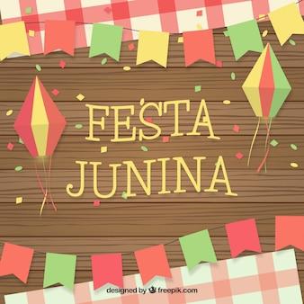 Festa junina achtergrond met ornamenten