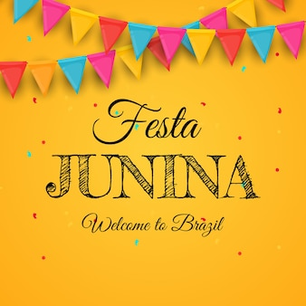 Festa junina-achtergrond met partijvlaggen.