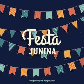 Festa junina achtergrond met platte wimpels