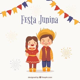 Festa junina achtergrond met schattige paar