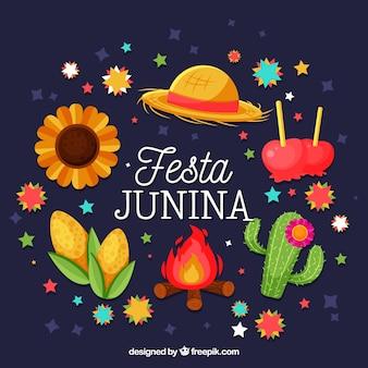Festa junina-achtergrond met traditionele elementen van viering