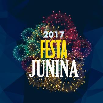 Festa junina achtergrond met vuurwerk