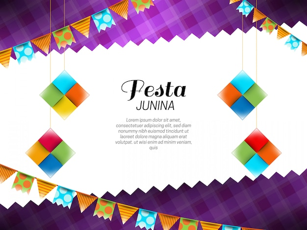 Festa junina achtergrond met wimpels en papieren decoraties