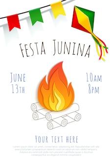 Festa junina-achtergrond. vectorbanner. latijns-amerikaanse feestdag. brazilië festival